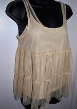 American Eagle Outfitters Womens Size Small Cream Sheer Overlay Top with Cami