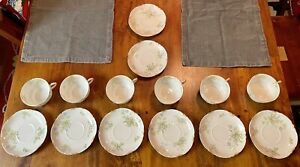 Haviland Limoges Schleiger 52-8 52B Six (6) Cups Blue Flowers w/Gold Daubs