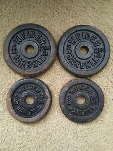 4 Vintage Weider Barbells Two 5lb & Two 3lb Standard Weight Plates