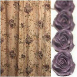 Croscill Chambord Shower Curtain with 12 Chambord Rose Hooks Amethyst Purple