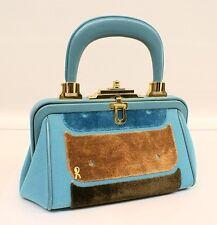 ROBERTA DI CAMERINO Exquisite NEW Turquoise Leather & Cut Velvet BAGONGHI Bag