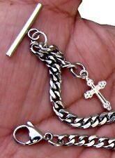 12 Inches Long Custom Made T Bar End Solid Pocket Watch Chain With Cross Fob