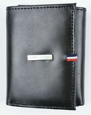 TOMMY HILFIGER Men's RFID Protect Trifold Wallet, Genuine Leather, Black, Boxed