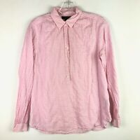 J.Crew Womens Pink Gingham Popover LS Blouse - Size 4