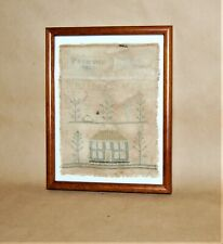 Antique American Embroidered Silk On Linen Sampler Patience Davis 1820 - 30
