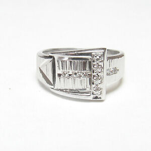 Estate 14K White Gold Nine Single Cut Diamond Belt Buckle Design Ring 0.09 Cts