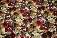 """Upholstery Drapery Linen Red Floral Print Decorative Pillow Fabric 55""""W"""