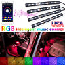 4x 9LED RGB Car Interior Atmosphere Footwell Strip Light Sound APP Control