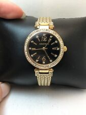 WOMEN'S ARMITRON ANALOG DRESS WATCH GOLD TONE BAND BLACK DIAL 75/5368GP-H78