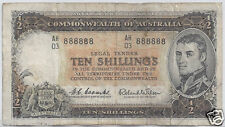 1960s Australia $10 Ten Shillings # 888888 Coombs/Wilson Solid 8's Serial Note