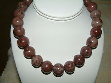 BIG BROWN-TAUPE PICTURE JASPER ROUND BEAD GEMSTONE NECKLACE 18mm,  17 Inches