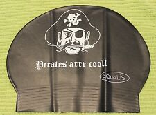 New in Bag AQUALIS Kids Junior BLACK PIRATES ARR COOL Latex Swim Cap - Swimming