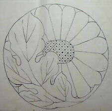 'KIKU' THE CHRYSANTHEMUM : Japanese Painting for Ceramic? / Woodcut HANSHITA-E