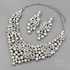 RhodiumPlated Pearl Crystal Necklace Earrings Bridal Wedding Jewelry Set 09526