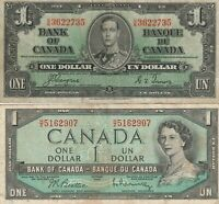 Vintage Lot of 2 Canadian Banknotes One Dollar 1937, 1954 Pick 58e 74b