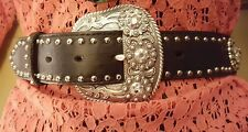NEW Nocona belt 34 Western Fancy Bling Concho studded black leather show ring