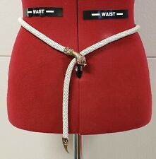 Vtg Whiting & Davis Metal Mesh White Belt With Pink Rhinestones Eyes Size 34 Htf