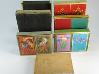 7 Vintage Playing Card Boxes ONLY Double 2 Decks Cards 27727