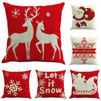 US Throw Pillow Case Santa Snowman Elk Snowflakes Sofa Decorative Cushion Covers