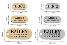 Oval Dog ID Tag Personalized Pet Cat Name Custom Engraved Key Chain Brass Steel