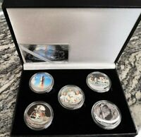 Estuche de monedas conmemorativas del Apollo 11 bañadas en plata