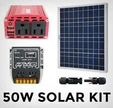 Solar Power Generator System Kit - 50W Panel / 120V Inverter / Controller 20A