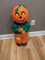 "Vintage 31"" Halloween Blow Mold Pumpkin Scarecrow Don Featherstone Union"