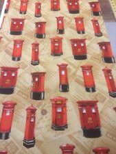 100% algodón acolcha Artesanal Britannia buzones Rojo Beige Nutex