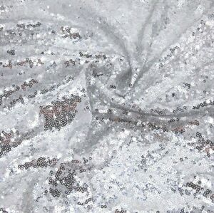 Silver Sequin Fabric Sparkly Shiny Bling Material Cloth 130cm Wide 1 1/2 metre