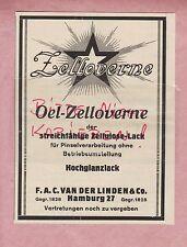 HAMBURG, Werbung 1927 F. A. C. Van Der Linden & Co. Öl-Zelloverne Zellulose-Lack