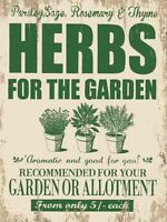 New 15x20cm HERBS FOR THE GARDEN vintage enamel style tin metal advertising sign