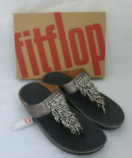 Fitflop Rumba Toe Thong Sandals Leather Pewter Grey Tassel Toe Post Box Size 7