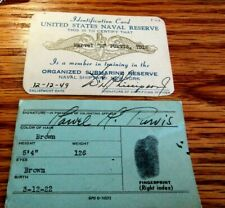 1949 United State Navy Submarine Reserve 2 - I.D. Cards Scarce Pair
