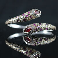 TURKISH HANDMADE RUBY STERLING SILVER 925K BRACELET BANGLE CUFF