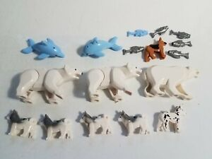 #21 Lego Minifigure Animals Lot w/ Arctic Polar Bears Dogs Huskies & Fish