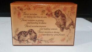 Vintage REUGE Owls Music Box WISDOM Poem Plays Music Box Dancer