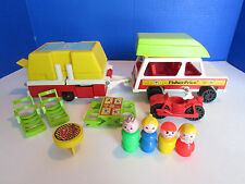 Vintage 1979 Fisher Price Little People Pop Up Camper Jeep Grill Complete 992
