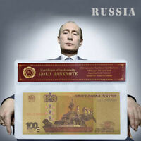 WR Russia 100 Rubles 1997(2004) 24K Gold Foil Colored Banknote Collection /w COA