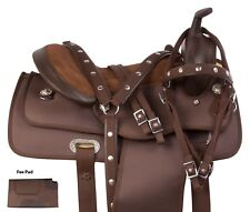 "16"" Light Weight Brown Western Synthetic Barrel Racing Trail Horse Saddle Tack"