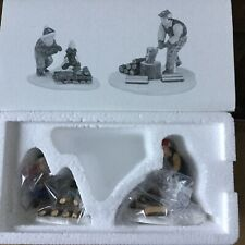 Dept 56 Snow Village® Chopping Firewood Set Of 2 - Brand New - In Plastic