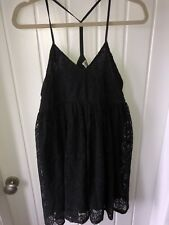River island size 10 black lace baby doll dress strappy chelsea girl party