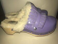 UGG Girls Australia Purple Patent Leather Slip-on Clogs w/Fur Studs- Size 3