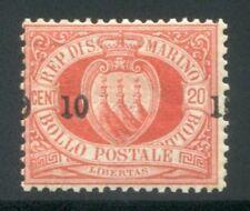 1892 San Marino stemmi 10 cent. rosso su 20 cent. nuovo spl MNH **