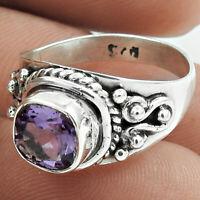 Cushion Amethyst Gemstone Ring Size 7 925 Silver Valentine Gift Jewelry M41