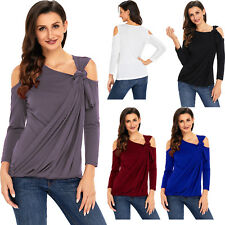 Asymmetric draped cold shoulder top womens shirt winter brief sexy solid party
