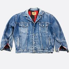 GAP Denim Jean Jacket Buffalo Plaid Liner Vintage Small (Med)