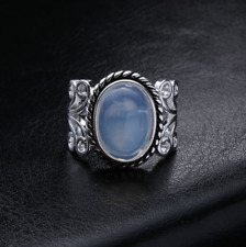 Jewelry Women Stone Sterling Silver Rainbow Moonstone Ring Natural Gemstone