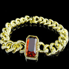 14K G/P LAB SIMULATE RED RUBY SOLITAIRE CZ'S BLING MIAMI CUBAN CURB BRACELET NEW