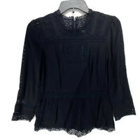 J Crew Point Sur Lacey Top Womens 0 Black Crochet Lace Peasant Blouse New NWT