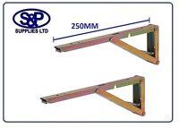 250MM SPRUNG FOLDING DROP LEAF TABLE SHELF WORKTOP SUPPORT BRACKET 40KG P/PAIR